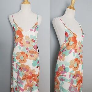 Lulu's Floral Watercolor Ruffle Hem Maxi Dress